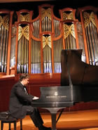 Dr. Fritz Gechter at the pipe organ